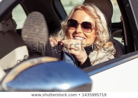 Vrouw bestuurder voet stuur jonge vrouw schoenen Stockfoto © Giulio_Fornasar