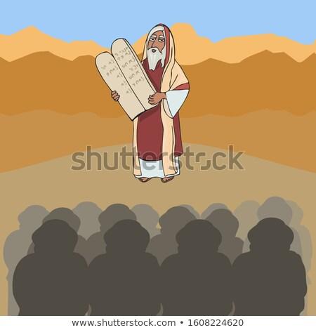 Prophet Moses Ten Commandments Drawing Color Stock photo © patrimonio