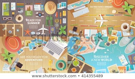 Foto stock: Establecer · vacaciones · de · verano · vector · web · banners · personas