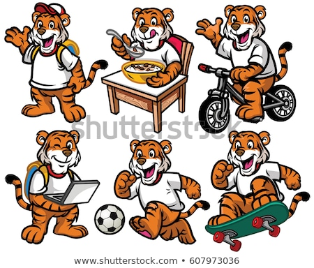 Tiger Mascot Cute Happy Cartoon Character Stock photo © Krisdog
