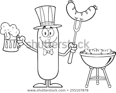Black And White Happy Sausage Cartoon Character Holding A Beer And Weenie On A Fork  Stock photo © hittoon