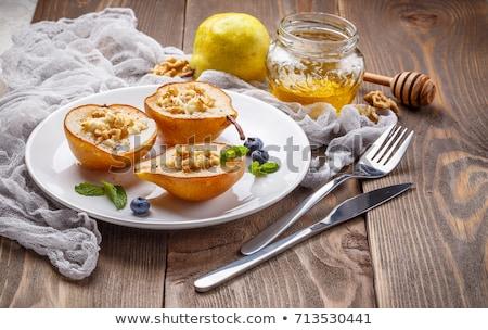 smakelijk · peren · honing · Blauw · tabel · witte - stockfoto © Illia