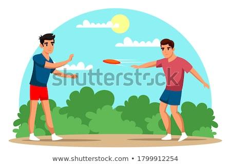 Cartoon мальчика играет Flying диска иллюстрация Сток-фото © bennerdesign