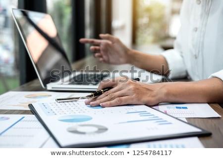 professionele · zakenvrouw · werken · financieren · digitale · tablet - stockfoto © Freedomz