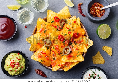 Guacamole, salsa, nachos and tequila Stock photo © furmanphoto