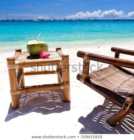 Tables on the beach, Boracay Philippines Stock photo © galitskaya