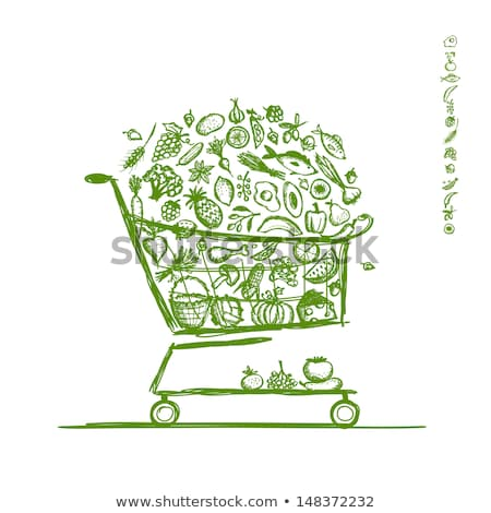 Fresh Harvest in Cart, Vegetable in Trolley Vector Stock photo © robuart