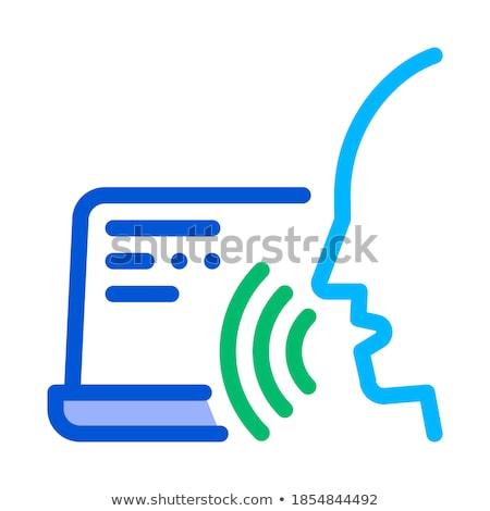 ноутбука человека голосом контроль икона вектора Сток-фото © pikepicture