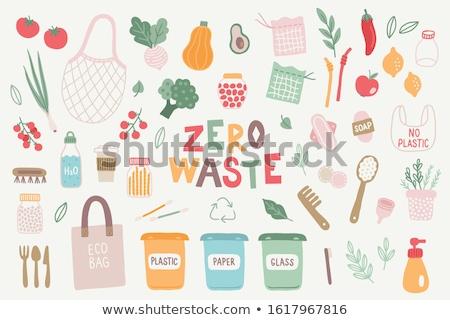 Sıfır atık plastik yeşil vegan Stok fotoğraf © vectorikart