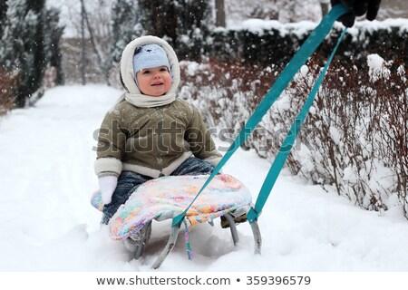 Ojciec dziecko posiedzenia opadów śniegu ludzi czasu Zdjęcia stock © robuart