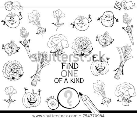 one of a kind game with kids color book page Stock photo © izakowski