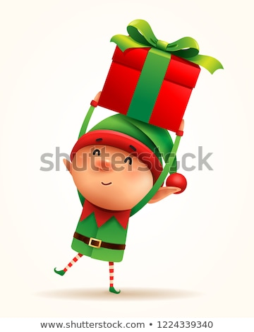 Merry Christmas, Elf with Gift Greet with Holiday Stock photo © robuart