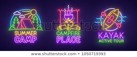 Camping neon iconen outdoor promotie gitaar Stockfoto © Anna_leni