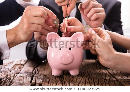 Crowdfunding Concept. People Inserting Coins Into Piggybank Stock photo © AndreyPopov