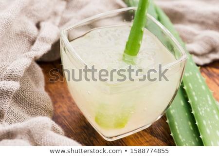 Glasgeschirr frischen Aloe Saft Blätter Glas Stock foto © joannawnuk