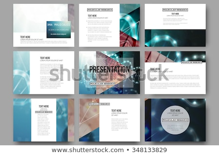 Science brochure design template. Vector molecular structure with connected lines and dots. Cover sq Stock photo © designleo