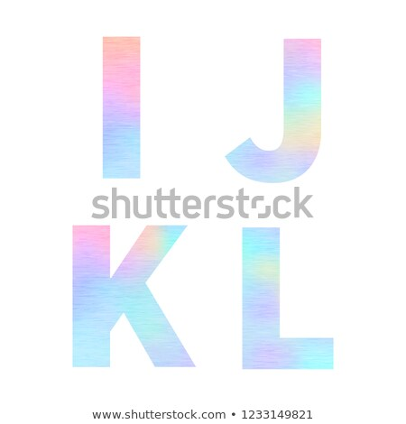 Modern I J K L letters with bright colorful holographic foil texture isolated on white Stock photo © evgeny89