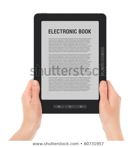 hand holds electronic book reader stock photo © andreykr