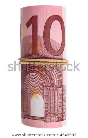 a roll of 10 euro notes with an elastic band wrapped around stock photo © latent