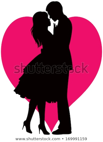 couple silhouette with hearts Stock photo © illustrart