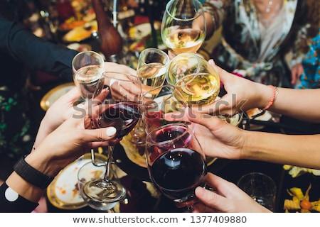 wina · apetyt · wesoły · młody · człowiek · białe · wino - zdjęcia stock © photography33