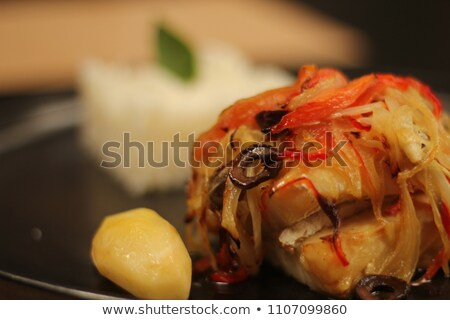 Batata grão prato típico comida peixe Foto stock © Carpeira10