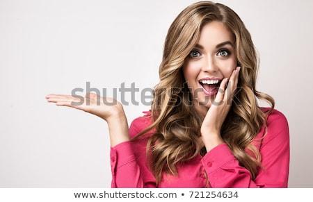 bela · mulher · porta · sorrir · feliz · casa - foto stock © arenacreative