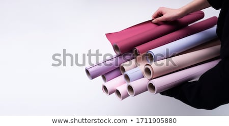 Woman holding selection of wallpaper stock photo © photography33