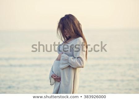 Güzel hamile kadın gökyüzü açık havada su bebek Stok fotoğraf © Victoria_Andreas