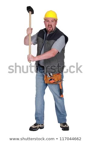 Férfi pózol szánkó kalapács acél szerszám Stock fotó © photography33