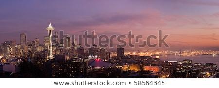seattle purple night panoramic stock photo © kwest