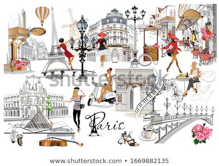 моде женщину Париж сердце красоту путешествия Сток-фото © juliakuz