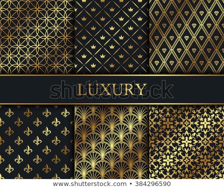 Stock photo: Black Decorative Card with Vintage Pattern and Golden Label