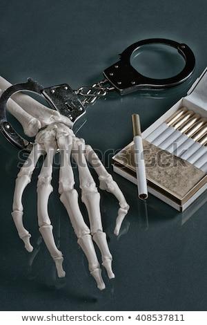 Esqueleto mão metal chave preto Foto stock © pterwort