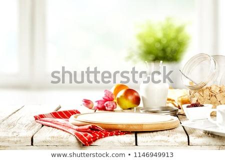 vers · smakelijk · frans · croissants · glas · melk - stockfoto © Len44ik
