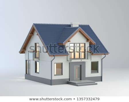güzel · model · ev · kırmızı · çatı · yüksek - stok fotoğraf © 4designersart