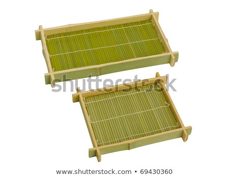 Empty Sushi bamboo basket for put Japanese food isolates Stock photo © JohnKasawa
