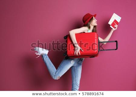 Stockfoto: Reizen · vrouw · mooie · jonge · vrouw · vergadering · koffer