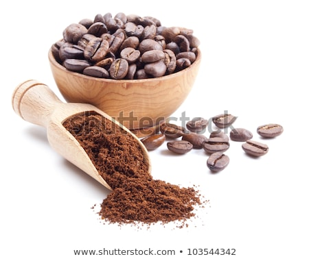 Coffee mill with coffee beans and ground coffee. Stock photo © justinb