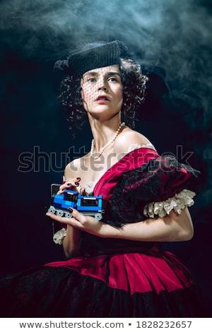 güzel · genç · kadın · karanlık · mavi · elbise · yüz - stok fotoğraf © pandorabox