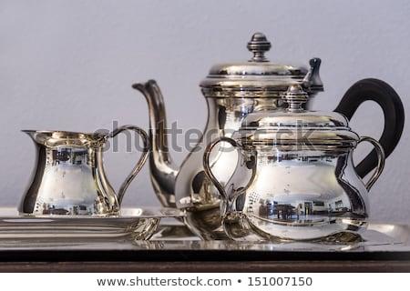 Ezüst étkészlet tükröződés fekete tükröződő sekély étel Stock fotó © elvinstar