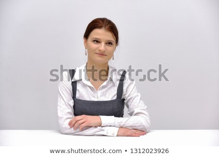 young brunette businesswoman with glasses confident and smiling stock photo © sebastiangauert
