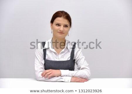 молодые брюнетка деловая женщина очки улыбаясь компьютер Сток-фото © sebastiangauert