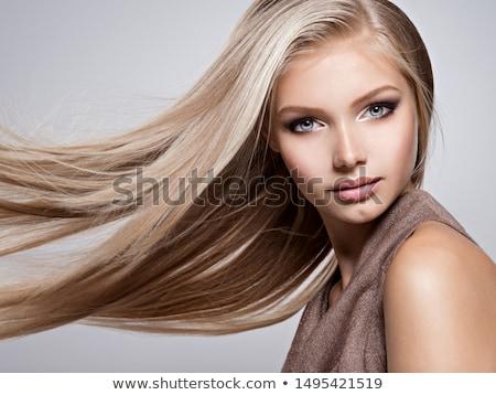 Gyönyörű szőke nő kék szemek hosszú haj meztelen váll Stock fotó © dash
