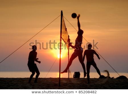 volleyball · coucher · du · soleil · illustration · femme · fille · silhouette - photo stock © meinzahn