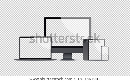 zwarte · vrouw · mobiele · telefoon · laptop · mooie · jonge · afro-amerikaanse - stockfoto © stockyimages