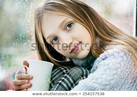 mooie · blond · meisje · drinkwater · blauwe · hemel · sexy - stockfoto © nejron