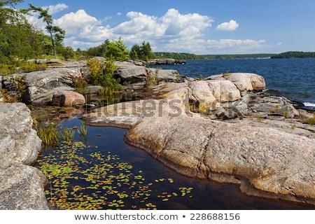 Rocha costa lago Canadá praia Foto stock © bmonteny