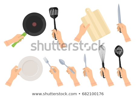 Stock photo: Hands at the table with empty set