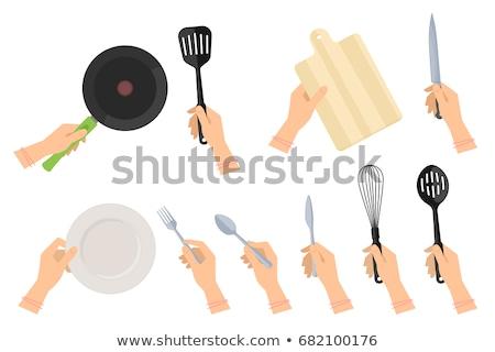叉 · 刀 · 空的 · 白 · 盤 · 孤立 - 商業照片 © stevanovicigor
